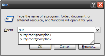 Launching PuTTY from the Run dialog.