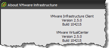 Help - About in vCenter 2.5 Update 2
