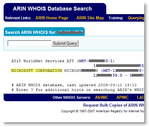 ARIN WHOIS IP address information.