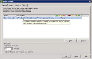 Datastore alarm running a PowerShell script