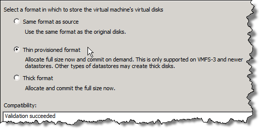 VM disk format selection during Storage VMotion