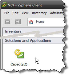 vSphere Client Home with CapIQ