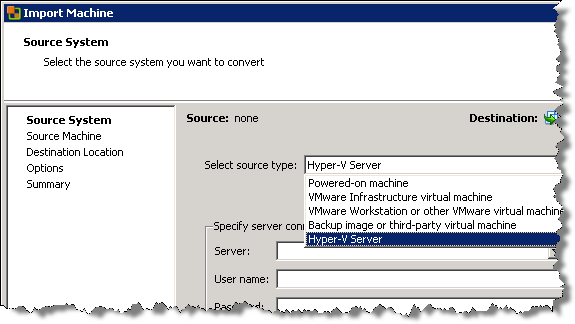 Use vSphere 4 1 to easily V2V a Hyper-V virtual machine