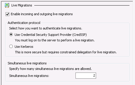 Default live migration limit in Hyper-V 3: 2