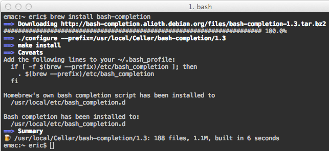 Homebrew bash-completion